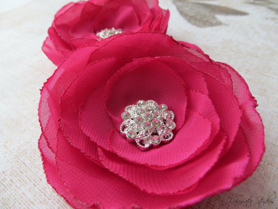 Свадьба - Wedding Hair Flower, Berry Chiffon Hair Flower Clips, Shoe Clips, Bridal Accessory