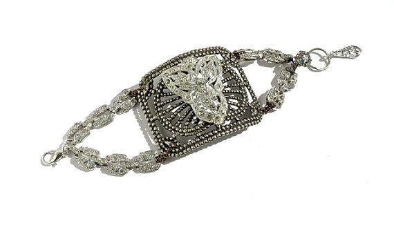 Свадьба - Vintage Crystal Bracelet, Rhinestones, Art Deco Shoe Clip, Wedding Jewelry by dabchickvintagegems on Etsy