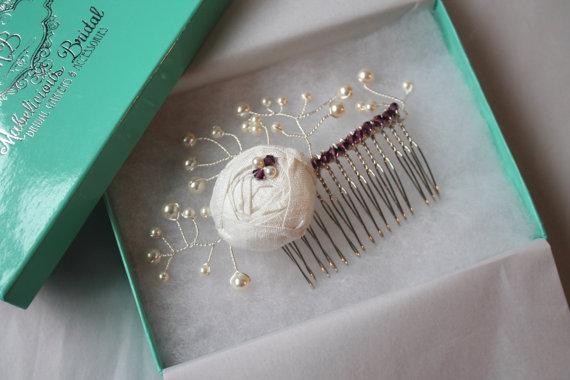 Свадьба - Bridal Hair Comb / Bridesmaid Hair Accessories - New 2014 'Simply Rosebud' Hair Piece - Bridal comb, Wedding hair comb, Bridesmaid Hair Comb
