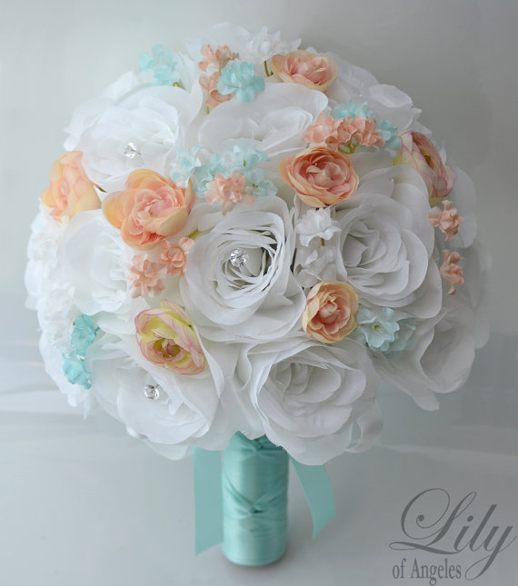 """Свадьба - 17 Piece Package Wedding Bridal Bride Maid Of Honor Bridesmaid Bouquet Boutonniere Corsage Silk Flower PEACH TIFFANY BLUE """"Lily of Angeles"""""""