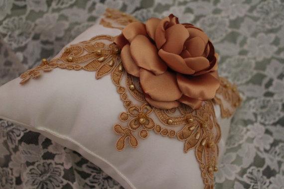 Mariage - White/Ivory Satin Ring Bearer Pillow Satin Sash GOLD Alencon Lace-Handmade Satin Singed Flower
