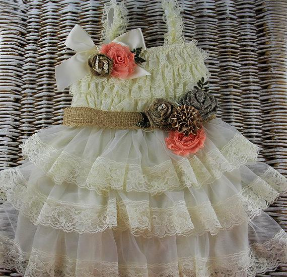 Свадьба - Rustic baby dress,Lace Flower Girl dress, Champagne country flower girl dress ready to ship,baby ruffle dress, ivory lace dress rustic girl
