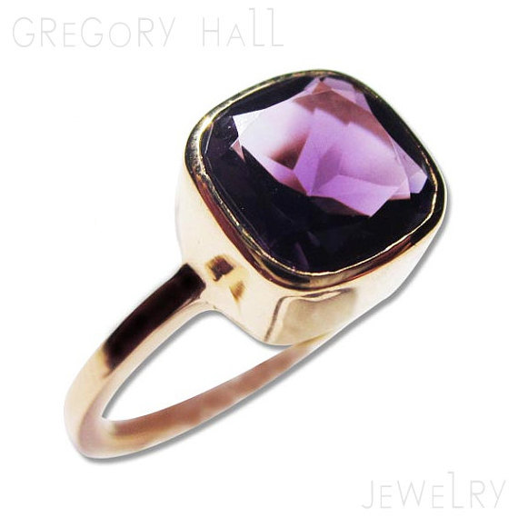 Wedding - Gold Amethyst Ring Purple Gemstone 14k Engagement Rings and Jewelry
