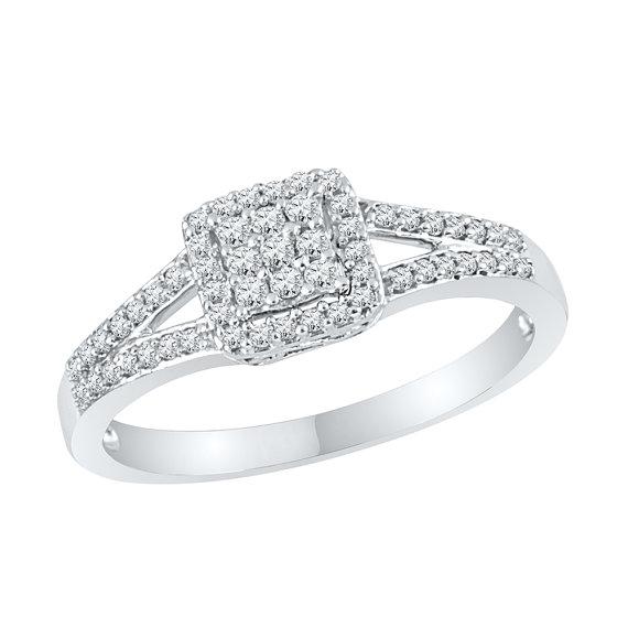 زفاف - 1/4 CT. TW. Square Diamond Engagement Ring in Sterling Silver or White Gold