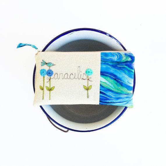 Mariage - Blue Beach Wedding Clutch, Personalized Bridesmaid Gift, Summer Destination Wedding, Aqua Blue and Seafoam MADE TO ORDER by MamaBleuDesigns