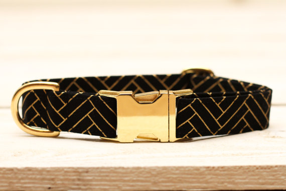 Mariage - Dog Collar Chevron Metallic Gold, Herringbone, Wedding Dog Collar, Black and Gold