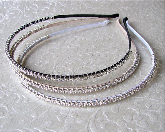 Свадьба - Thin Rhinestone Headband Wedding Headpiece Bridal Head Band Crystal Diadem Hairpiece Bohemian Chic Bride Ballroom Pageant Jewelry Prom Hair