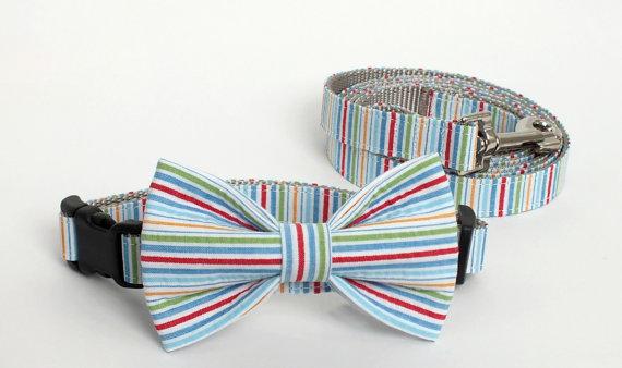 Mariage - Multi Color Seersucker Collar and Leash Set, Wedding Set