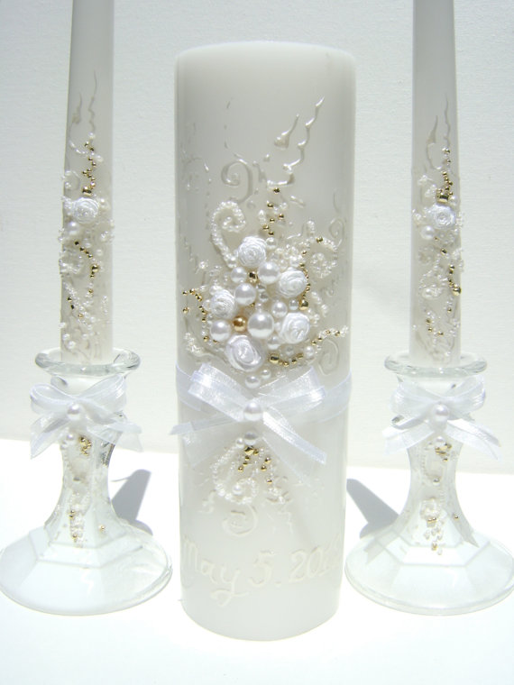 Wedding - Wedding unity candle set, hand decorated with an original design in white and gold. It's a great bridal shower gift idea