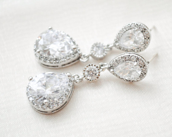 Mariage - CZ Teardrop Bridal Earrings, Wedding Earrings, CZ Earrings, Bridal Jewellery