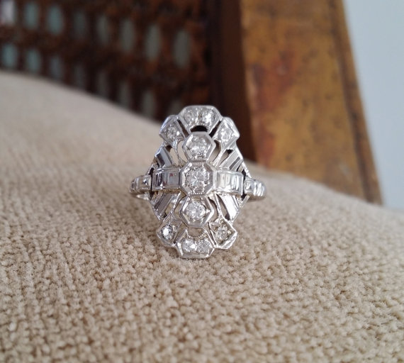 Mariage - Antique Diamond Engagement Ring White Gold Filigree Ring Victorian Art Deco North South White  14K Gold Size 5.25