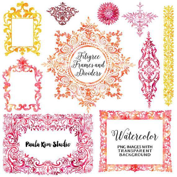 My Wedding Invite Clip Art At Clker Com: 75% OFF SALE Watercolor Clipart, Digital Frames, Flourish