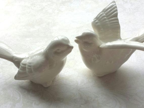 Birds Wedding Cake Topper Love White Ceramic Bird Home Decor
