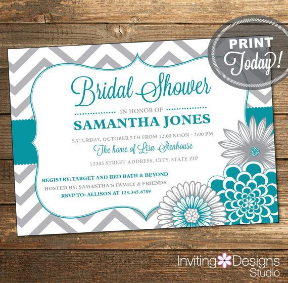 Hochzeit - Printable Wedding Shower Invitation, Bridal Shower Invitation, Chevron, Floral, Teal, Blue, Gray, Printable (Custom Order, INSTANT DOWNLOAD)