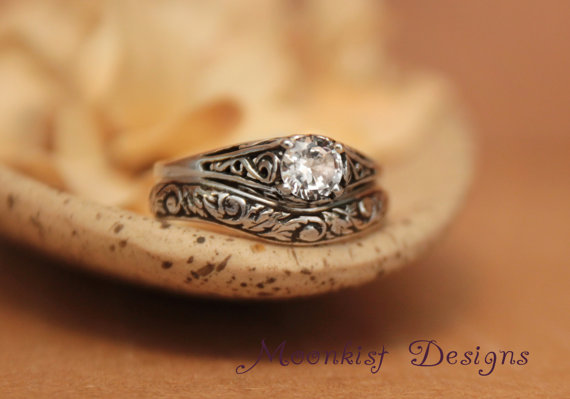 White Sapphire Filigree Engagement Ring Set With Fitted Floral Band