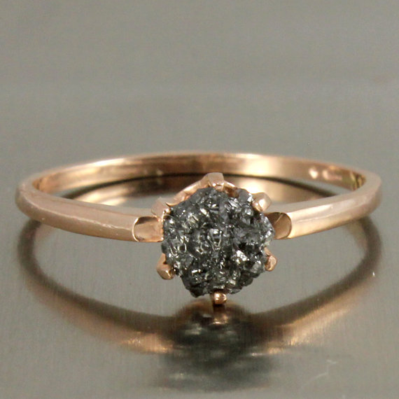 Wedding - 14K Rose Gold Solitaire Ring with Raw Rough Diamond - Black Rough Uncut Diamond - Classic Engagement Ring - Promise Ring - April Birthstone