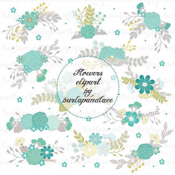 Свадьба - Wedding Floral Clip Art, Hand Illustrated Digital Flowers , Flower Clip Art, PNG Flower Clip Art,  Wreath flower, bouquet, teal, grey