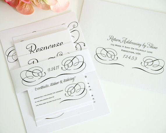 Hochzeit - Romantic Wedding Invitation Set in Black and White on Pearl Shimmer Luxury Cardstock - Charming Script Sample