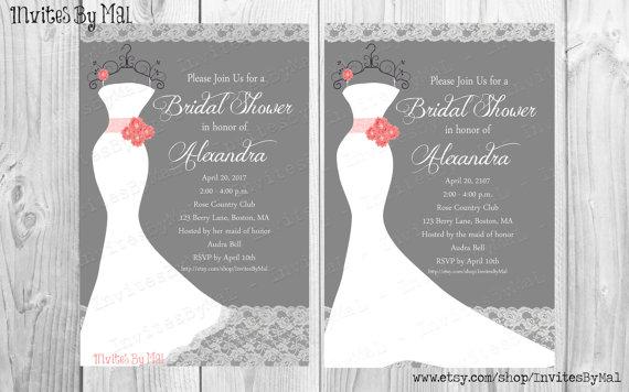 زفاف - Bridal or Wedding Shower Invitation (Coral color can be changed to match YOUR wedding color!)