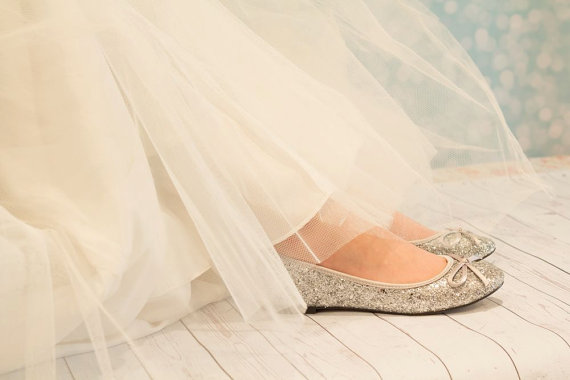 Silver Flat Wedding Shoes   Flat Silver Shoes   Glitter Shoe