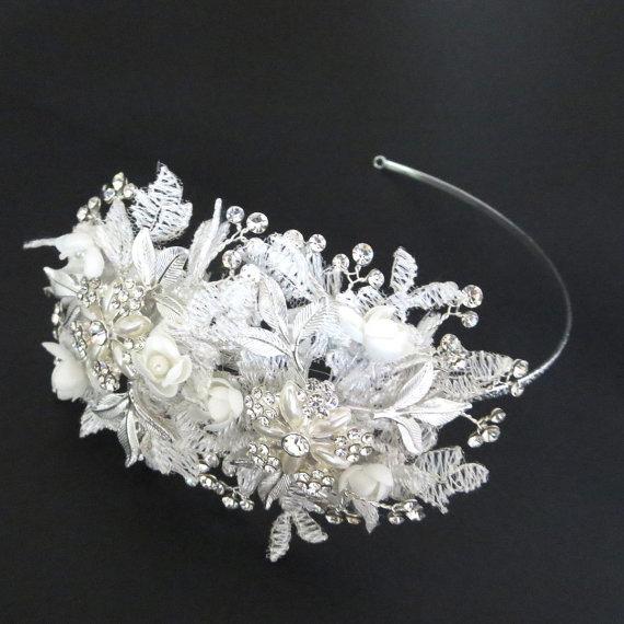 Mariage - Ivory Lace Headpiece, Bridal headband, Wedding headpiece, Bridal head piece, Crystal Flower headpiece