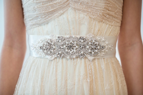 Свадьба - Bridal Gown Sash, Wedding Gown Sash, Rhinestone Ribbon Sash, Ivory Beaded Sash