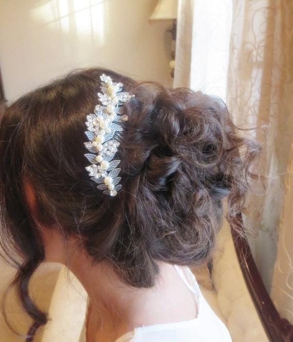 Wedding - Wedding headpiece, Bridal hair comb, Swarovski crystal headpiece, Pearl hair comb, Vintage headpiece, Leaf headpiece, Hair accessory