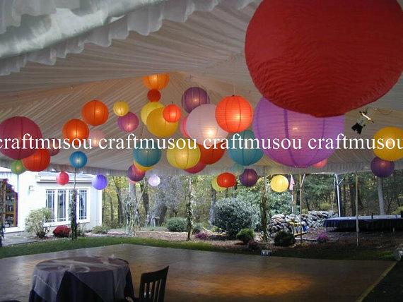 "Mariage - Wedding Multi-Color 40 lantern Set Led Round Paper Lanterns 6"" 8"" 10"" 12"" 14"" 16"" 18"" Wedding Party Floral Sky Decoration with Led Lights"