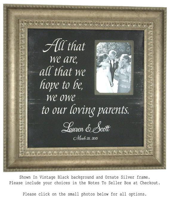 Wedding - Personalized Picture Frame, ALL THAT WE Are, Parents of the Bride Gift, wedding decoration, bridal shower gift, 16 X 16