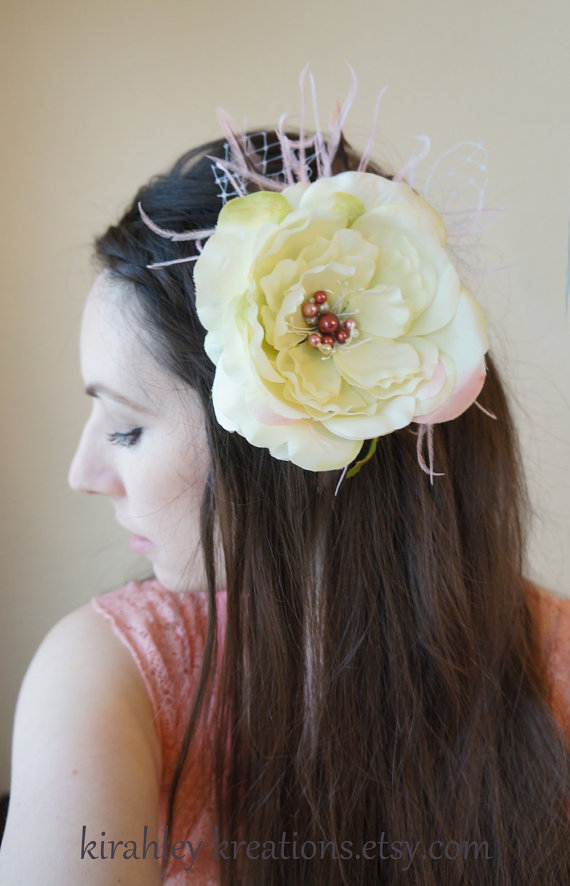 Mariage - PINK & LIME -- Peony Flower Cabbage Rose Feather Birdcage Veil Bridal Hair Clip Wedding Fascinator w/ Ivory Mauve Pink Pearl Beaded Center