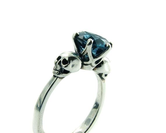 Mariage - Skull Engagement Ring Blue Topaz Sterling Silver Skull Ring Goth Jewel Ring Blue Gemstone Memento Mori Womens Ring All Sizes Psychobilly
