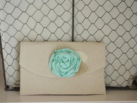 Mariage - Mint Clutch Wedding Purse Burlap Bridesmaid Gift Idea Rustic Wedding Mint Bridesmaid Clutches Gift Under 20