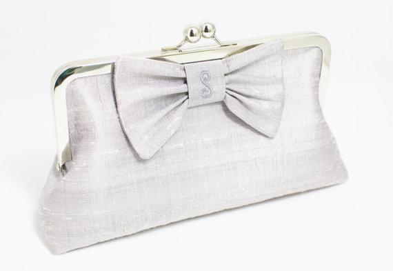 Mariage - Personalized Silk Dupioni Bow Clutch - Wedding Clutch - Bridesmaid Clutch