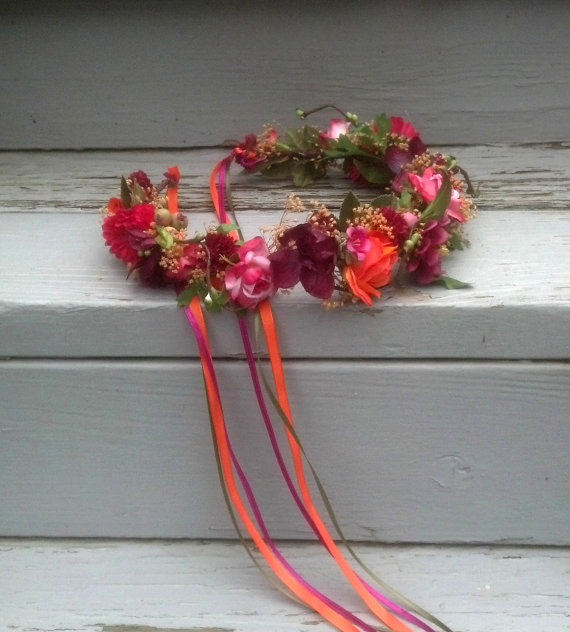Mariage - Vibrant Colors Bridal bridal party floral crown wine orange magneta burgundy Girl Halo Wedding hair wreath accessories dried artificial