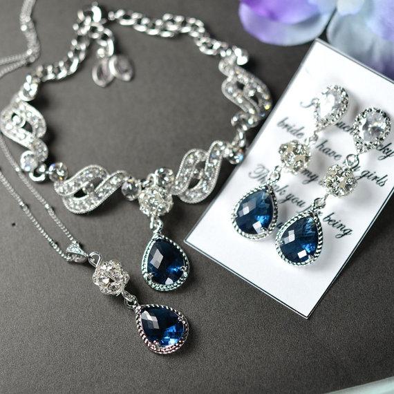 Mariage - Bridesmaid jewelry sapphire blue Drop Earrings Necklace Bracelet SET Wedding Bridal Wedding Bridal Jewelry Bridesmaid Gift Something blue