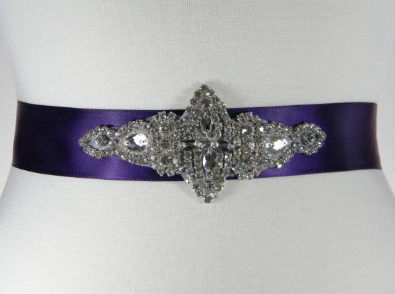 Mariage - Purple Bridal Sash - Dark Purple Wedding Belt - Bridal Belt - Bridesmaid Belt - Beaded Wedding Dress Belt - Bridal Sash - Party Belt - LANA
