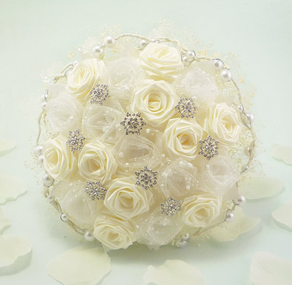 Mariage - Snow Frost Wedding Bouquet, Origami Bridal Bouquet - Winter Wonderland Wedding, Snow Bouquet, Flower Bouquet