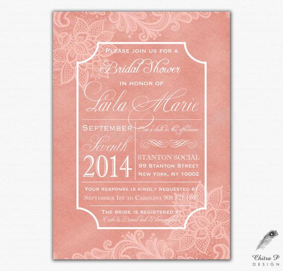 Wedding - Pink Bridal Shower Invitation - Printed or Printable, Wedding boho Engagement blush Baby Typography Elegant Rustic Couples White Lace - #064
