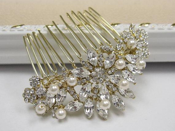 Свадьба - Gold bridal hair comb gold wedding comb gold wedding accessory gold bridal hair accessory gold wedding hair jewelry Pearl wedding hair comb
