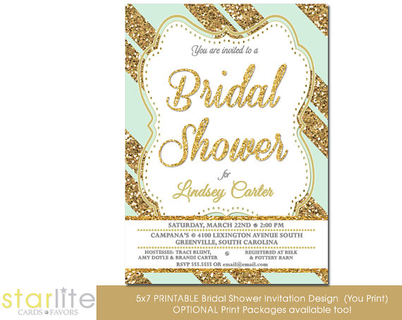 Hochzeit - Mint Gold Bridal shower invitation - Mint Gold Glitter Stripes, engagement party - vintage style Printable Design or Printed Option