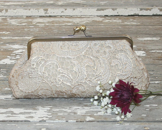 Mariage - Champagne Lace Bridesmaid Clutches / Lace Wedding Clutches / Wedding Gift / Bridal Clutch
