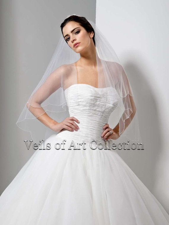 Mariage - Handcrafted Bridal Fingertip Veil with Scalloped Beaded Edge & Crystal Drops Style VE163