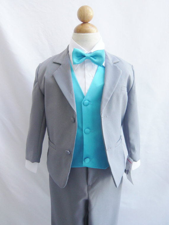 Mariage - Formal Boy Suit Gray with Turquoise Vest for Toddler Baby Ring Bearer Easter Communion Bow Tie Size 2, 3, 4, and More