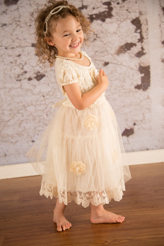 Ivory lace flower girl dress sale lace girl dress rustic for Country wedding flower girl dresses