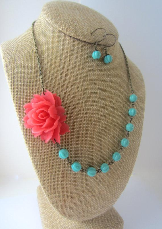 Hochzeit - Bridesmaid Jewelry Set of 3 Flower Necklace Statement Necklace Coral Wedding Coral and Turquoise Floral Necklace Summer Wedding