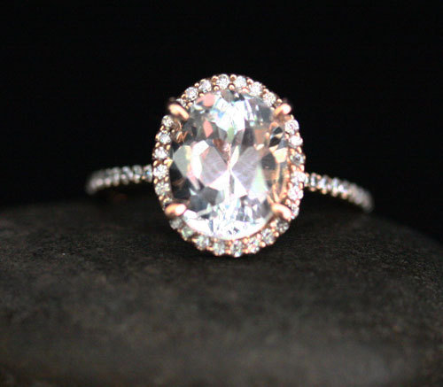 Свадьба - Oval White Topaz Ring White Topaz Engagement Ring in 14k Rose Gold with White Topaz Oval 10x8mm and Diamond Halo
