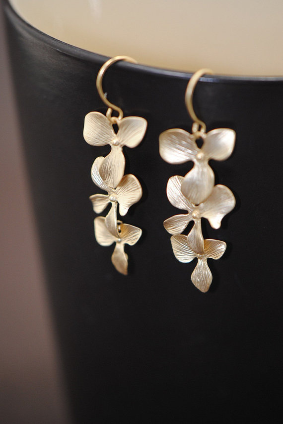 Mariage - Orchids Earrings Gold, Triple Cascading Orchid Earrings, Bridal Wedding Earrings, Bridesmaid Jewelry