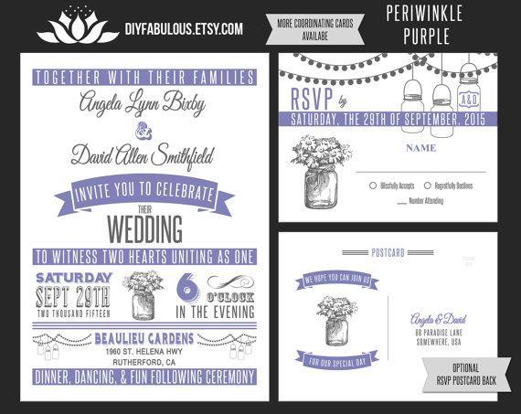 Wedding - NEW Vintage Mason Jar Wedding Invitation Printable Purple Wedding Invitation Suite Lavender Wedding Invitations Rustic Country Wedding