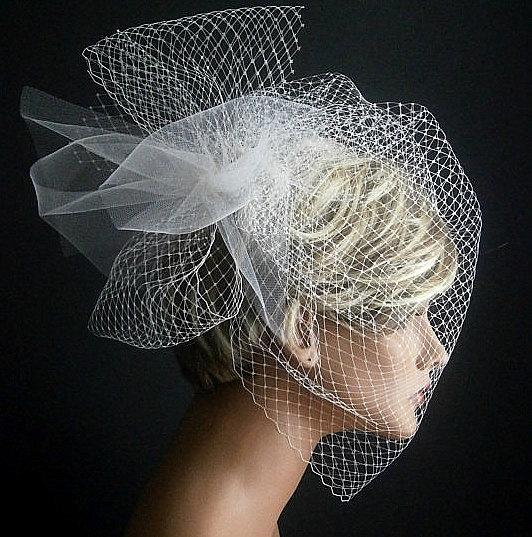 Свадьба - Wedding Viel Full Birdcage Veil With Poof in Ivory Color 18 Inches
