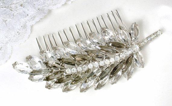 زفاف - Vintage JULIANA D&E Black Diamond Clear Rhinestone Silver Leaf Bridal Hair Comb / Sash Pin, Smoky Gray Marquise Crystal Wedding Accessory